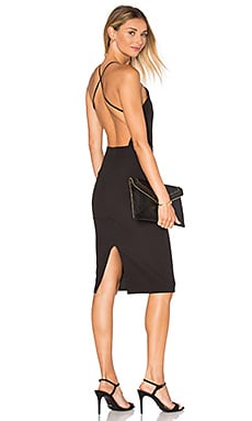 Square Neck Midi Dress in Black
