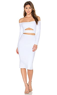 Donna Mizani Long Sleeve Marilyn Cut Out Midi Dress in White