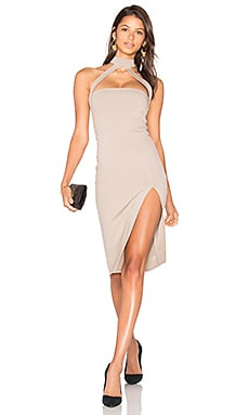 Cut Out Strapped Mock Midi Dress in Smoke