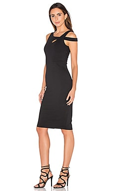 Donna Mizani Cold Shoulder Midi Dress in Black