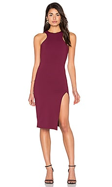 Racer Front Midi Slit Dress in Aubergine
