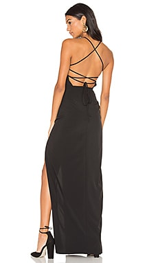 Cross Back Square Neck Maxi Dress in Black