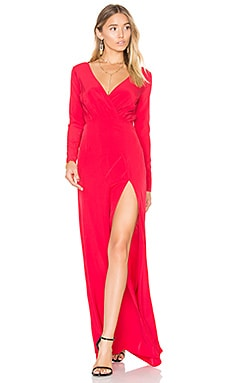 Embroidered Drape Neck Gown en Ruby