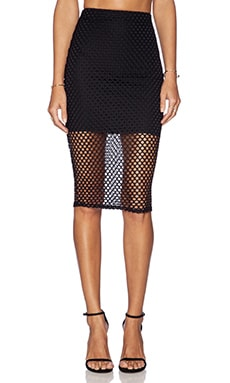 Donna Mizani Diamond Midi Skirt in Black