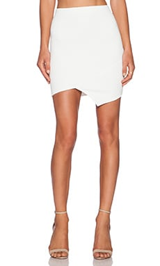 Donna Mizani Quilted Cross Over Mini Skirt in ivory
