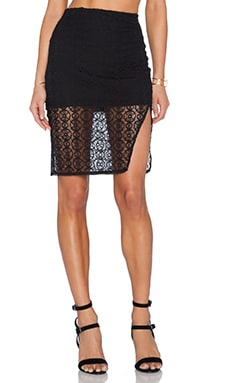 Donna Mizani Orbit Midi Slit Skirt in Black