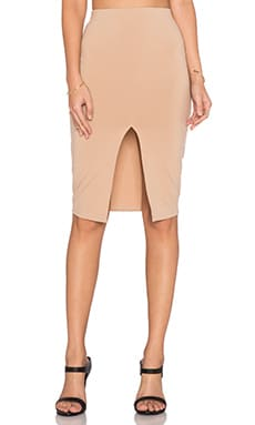 Front Slit Midi Skirt in Camel