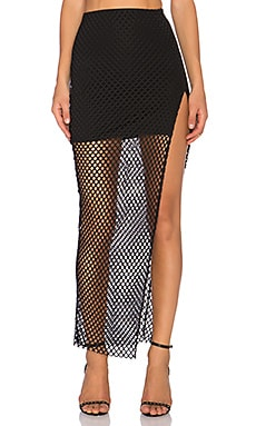 Donna Mizani Diamond Long Slit Skirt in Black