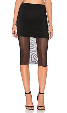 Donna Mizani Mesh Midi Skirt in Black