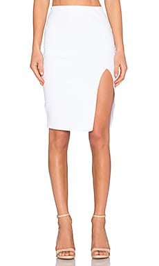 Donna Mizani Side Slit Midi Skirt in White