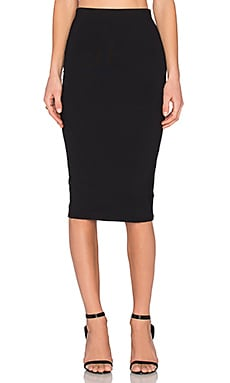 Back Slit Midi Skirt in Black