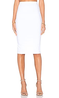 Donna Mizani Back Slit Midi Skirt in White