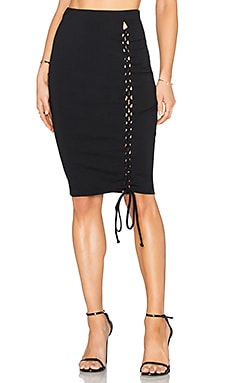 Donna Mizani Lace Up Midi Slit Skirt in Black