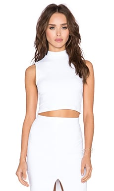 Donna Mizani Cropped Mock Top in White