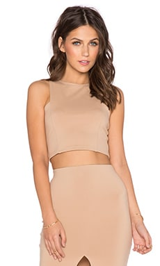 Front Panel Crop Top en Camel