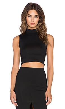 Donna Mizani Mock Neck Crop Top in Black