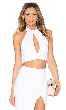 Mock Neck Keyhole Crop Top in White
