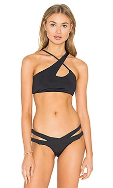 Donna Mizani X Front Bikini Top in Black