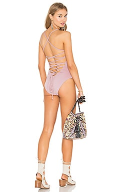Donna Mizani Lace Up One Piece in Rose Quartz