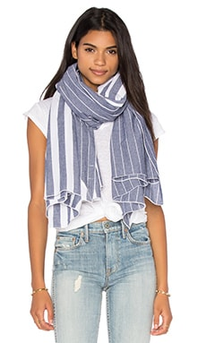 DONNI CHARM Diagonal Scarf in White Chambray Stripe & White