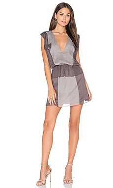 Karlie Two Tone Dress in Coal Gray & Silver