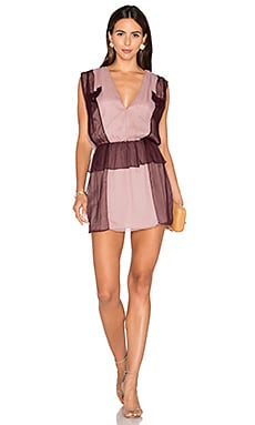 Karlie Two Tone Dress in Burgundy & Nude Rose