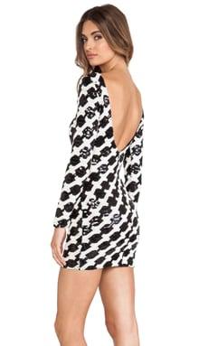 DRESS THE POPULATION Lola Dress in Black & Ivory