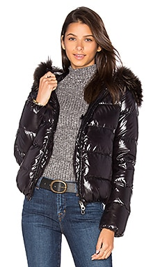 Duvetica Adhara Jacket with Raccoon Fur in All Black