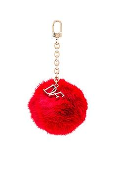 Diane von Furstenberg Fur Pom Pom Charm in Lacquer Red