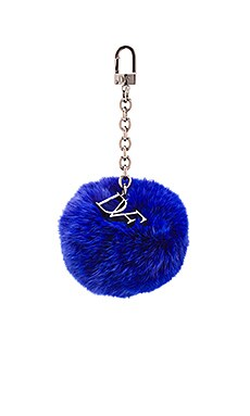 Diane von Furstenberg Fur Pom Pom Charm in Lapis Shock