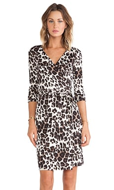 New Julian Two Wrap Dress in Snow Cheetah Large