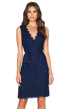 Diane von Furstenberg Julianna Two Lace Wrap Dress in Midnight