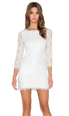 Diane von Furstenberg Zarita Metallic Lace Dress in White