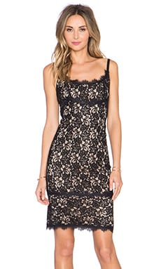Diane von Furstenberg Olivia Dress in Black & Nude