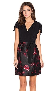 Diane von Furstenberg Ivy Faux Wrap Dress in Lacquer Red & Oxblood & Black