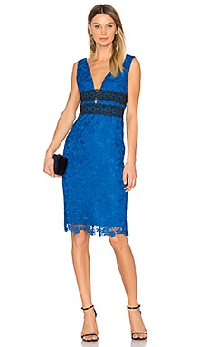 Viera Lace Dress in Neptune Blue & Black