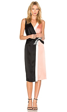 Taped Wrap Dress em Black, Dusty Rose & Ivory