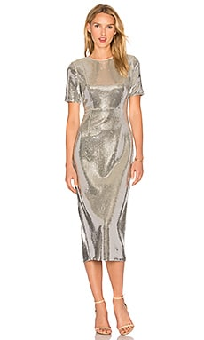 Sequin Dress in Silver & Nectar