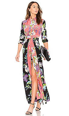 Floral Maxi Dress in Curzon Black, Curzon Pink & Coral