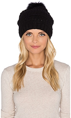 Diane von Furstenberg Fox Fur Pom Cable Knit Hat in Black