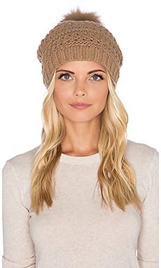 Diane von Furstenberg Fox Fur Pom Cable Knit Hat in Camel