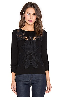 Diane von Furstenberg Shana Lace Sweater in Black