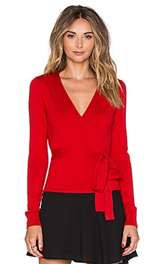 Diane von Furstenberg Ballerina Wrap Sweater in Poppy