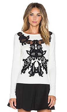 Diane von Furstenberg Shana Lace Sweater in Ivory & Black