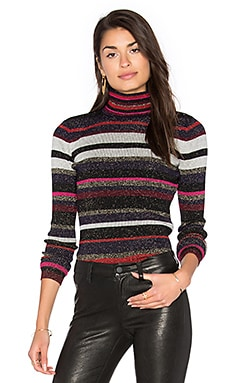 Leela Metallic Turtleneck Sweater en Royal Navy Stripe