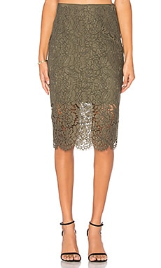 Glimmer Lace Skirt in Olive