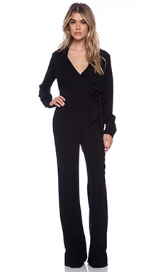 Diane von Furstenberg Wrap Jumpsuit in Black