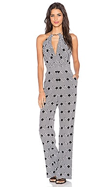 Diane von Furstenberg Ireland Jumpsuit in Geo Stripes Black