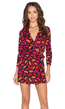 Diane von Furstenberg Celeste Wrap Romper in Midnight Kiss Multi Red