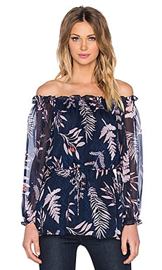 Diane von Furstenberg Camila Top in Snake Leaves New Indigo